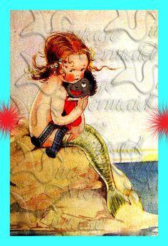 s387 Quilt Fabric Blocks Mermaid Book illustration Print Cotton ... : mermaid quilt fabric - Adamdwight.com