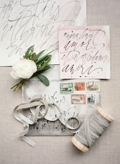 Gorgeous watercolor and calligraphy: http://www.stylemepretty.com/little-black-book-blog/2015/04/02/organic-elegant-wedding-inspiration/ | Photography: Almond Leaf - http://almondleafstudios.com/