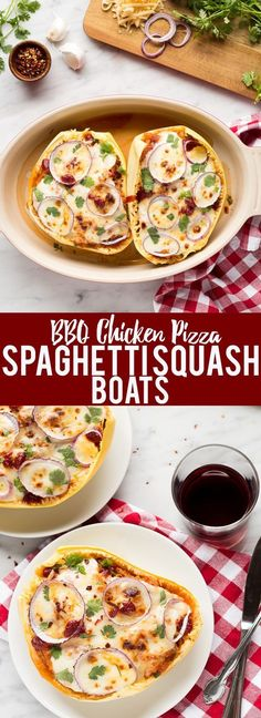 These BBQ Chicken Pizza Spaghetti Squash boats have all the delicious flavors of a BBQ Chicken Pizza - sweet and savory BBQ chicken, red onions and two kinds of cheese, stuffed in a spaghetti squash boat! Low Carb and Gluten Free!