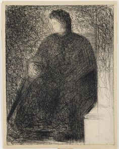 La Mere de L'artiste: 1882 by Georges Seurat -Conté crayon on laid paper - 12 1/4 by 9 1/2 in. (sold at auction, Sotheby's, February, 2014 $806,728 .00)