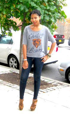 Brown Girl Gumbo wearing Junk Food Chicago Bears tee