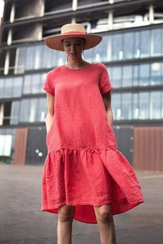Linen raspberry dress – Linen Dresses For Women Linen Dresses, Cotton Dresses, Casual Dresses, Long Summer Dresses Casual, Comfy Dresses, Womens Linen Clothing, Gypsy Clothing, Ethno Style, Mode Plus