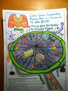 """Check out October 29th's winning artwork, which was submitted by Amy D! She will receive a $250 gift card to Marco's Pizza for her entry in the National Pizza Month Coloring Contest.  """"My kids' Halloween Pizza! Yum yum!"""""""