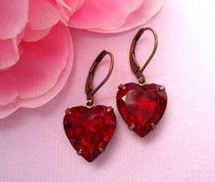 Vintage Ruby Red Heart Earrings