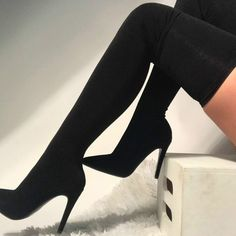 Perfectly made, these hot knit thigh high stiletto boots allow you to stretch as much as possible! Featuring a pointed toesilhouette. Stiletto Boots, High Heel Boots, Heeled Boots, High Heels, Shoes Heels, Pumps, Talons Sexy, Long Boots, Black Boots