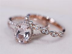2 Rings Set VS 6x8mm Pink Morganite Ring with by AbbyandWills