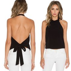 Look awesome and elegant with Backless tops Fashion Halter Neck Backless Sleeveless Blouses Tops Women sex white Backless Top, Backless Shirt, Sleeveless Blouse, Sexy Outfits, Fashion Outfits, Fashion Women, Summer Outfits, Summer Blouses, Summer Tops