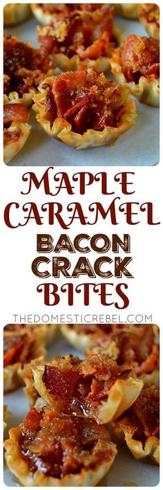 Maple Caramel Bacon Crack Bites: bite-sized morsels of heaven filled with crispy. Maple Caramel Bacon Crack Bites: bite-sized morsels of heaven filled with crispy, smoky bacon, swee Finger Food Appetizers, Yummy Appetizers, Appetizers For Party, Finger Foods, Appetizer Recipes, Bacon Recipes For Party, Phyllo Appetizers, Easy Bacon Recipes, Pepperoni Recipes