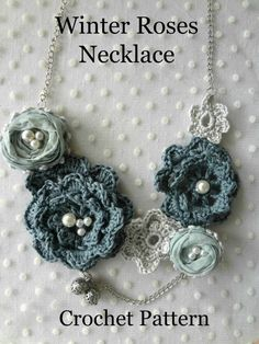 Crochet Winter Roses Necklace PDF Pattern irish roses by sewella