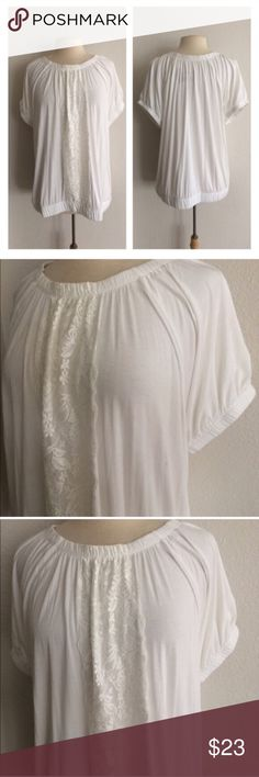"""Lane Bryant white top size 14/16 Lane Bryant white top. Size 14/16. Measures 29"""" long with a 40"""" bust. Banded bottom. Extremely stretchy! The area under the lace is lined so it's not sheer. NWT, but it does have a very small mark/ smudge from being stored (see photo #2) 🚫NO TRADES🚫 💲Reasonable offers accepted💲 💰Great bundle discounts💰 Lane Bryant Tops"""