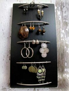 Earring display made with drawer handles