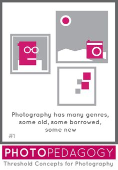 Each Threshold Concept has a supporting image inspired by our Photopedagogy camera. TC shows 3 framed artworks - a portrait, a landscape and something abstract, suggestive of pixels. Photography Lessons, Photography Ideas, Framed Artwork, Concept, Abstract, Creative, Cards, Thomas Tallis, Artworks