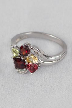 925 Silver Ring - Semi Precious Stone Mix