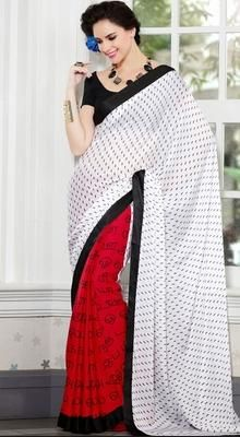 Confused on what to wear? pick this charming red, white chiffon, cotton & satin half and half saree. Beautified with block print work all synchronized well with the pattern and design of the attire. #PrintedSaree #PrintedSariCollection2015