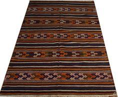 anatolian kilim rug 5x7 retro rug nomadic design by POCCARugs