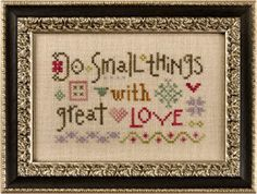 Do Small Things With Great Love is the title of this Lizzie Kate Flora McSample Snippet that proves great things comes in small packages.