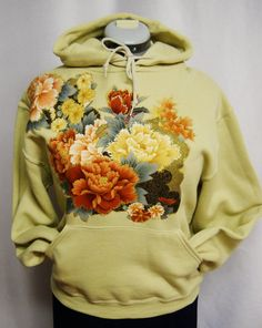 Women's Tan Color Hoodie Custom Fabric Applique by paulagsell, $54.00