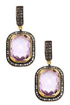 Champagne Diamond & Purple Topaz Cushion Dangle Earrings by Jewels By Lori K on @HauteLook