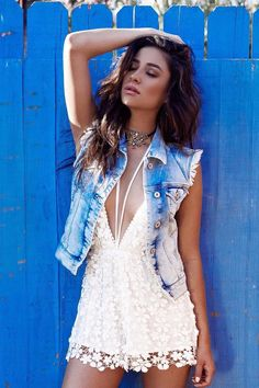 Shay Mitchell wearing Missguided Lace Halterneck Drawstring Romper White, Child of Wild Liberation Indian Armband