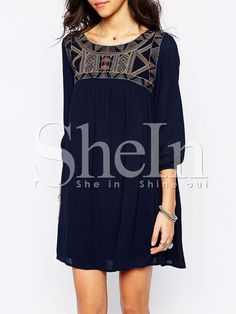 Navy Broderie Antique Long Sleeve Tribal Embellishments Embroidered Dress -SheIn(Sheinside)
