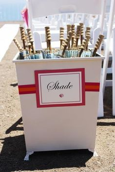An outdoor wedding - shade umbrellas, yes!  Rain umbrellas, no.