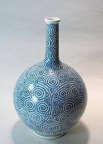 Large Old Japanese Arita Tako-Karakusa Sake Bottle