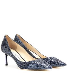 Jimmy Choo - Romy 60 glitter pumps - Coated with dazzling navy-toned glitter, the sophisticated silhouette is finished with a metallic navy heel. Team the pointed pair with a shorter hemline for an eye-catching, leggy look. - @ www.mytheresa.com