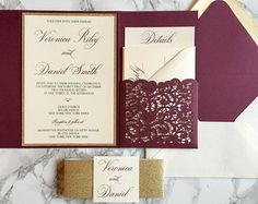 Burgundy Wedding Invitation Burgundy and Gold por CZinvitations