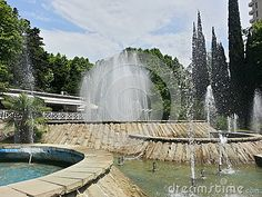 Fountains in the city park, Sochi, Russia