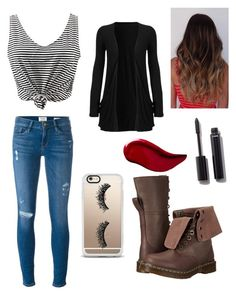 """""""Casual Day Out"""" by ashlynnk542 ❤ liked on Polyvore featuring Frame Denim, Dr. Martens, WithChic, Casetify, Chanel and Kat Von D"""