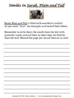 Printables Sarah Plain And Tall Worksheets sarah plain and tall final test journeys pinterest finals ccss aligned novel study plus