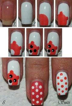 bear polka dot nails