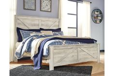 Ashley Furniture Bellaby King Crossbuck Panel Bed with Made of engineered wood,Includes headboard, footboard and rails,Foundation/box spring required,Assembly required Dreams Bed Frames, Dreams Beds, Panel Headboard, Panel Bed, Queen Bedroom, Queen Beds, Master Bedroom, Bedroom Retreat, Queen Comforter Sets