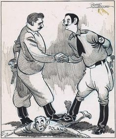 Early cartoon of the Nazi-Soviet Non-Aggression Pact. Showing Germany, represented by Adolf Hitler, and Russia, represented by Joseph Stalin, crushing the country of Poland between them. Hitler and Stalin also have pistols behind their back, offering a prediction about what may happen in the future of the pact.
