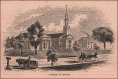 Hadley, Massachusetts, Street View, antique engraving, print, matted 1855 #antique