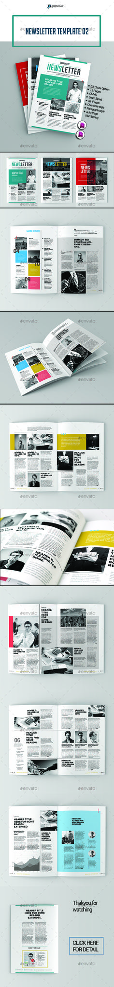 Newsletter Template InDesign INDD. Download here: https://graphicriver.net/item/newsletter-template-02/17384421?ref=ksioks