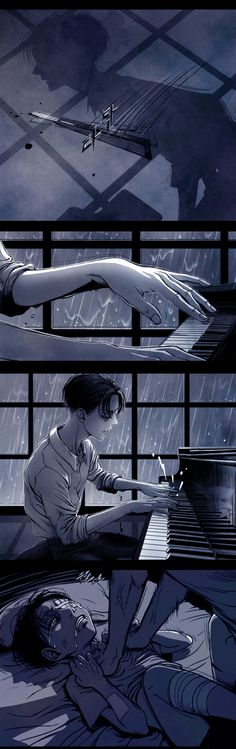 [2/4] [SnK//AoT] | [RiEre/EreRi] | The Piano by shul. || ๑ Title: The Piano || ๑ Pixiv ID: 40257800 (last picture is Goodbye kiss, id=40257147) || ๑ Artist: shul || ๑ Characters: Levi, Eren Yeager. || ๑ Rating: Parental Guidance. || ๑ Warning: Child abuse, self-harm.
