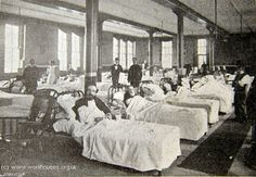The men's ward. The Workhouse in St Pancras, London: Middlesex - I am not surprised disease was rife, the beds are crammed in and sanitary arrangements were at best basic.