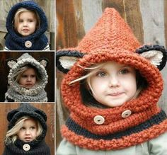 Handknit hoods and cowls