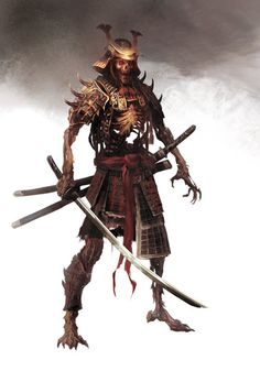 Bone Warrior by Manzanedo on DeviantArt - samurai sword Fantasy Rpg, Medieval Fantasy, Fantasy Artwork, Dark Fantasy, Fantasy Blade, Amaterasu, Fantasy Creatures, Mythical Creatures, Samurai Artwork