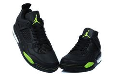 £66.73   Air Jordan 4 Leather Black Green Custom 2014