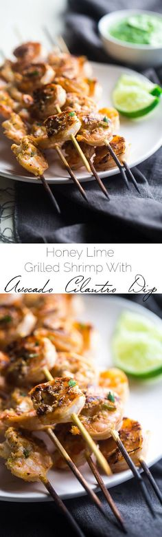 Cilantro Lime Grilled Shrimp With Avocado Cilantro Dip - Marinated In Lime Juice, Honey And Jalapeno Pepper, Then Grilled For A Quick And Easy, Healthy Meal That's Gluten Free, Low Carb And Low Fat Foodfaithfit Pork Rib Recipes, Grilling Recipes, Fish Recipes, Seafood Recipes, Cooking Recipes, Healthy Recipes, Chicken Recipes, Grilling Ideas, Healthy Chicken