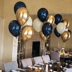 Blue Birthday Parties, Birthday Balloons, Birthday Party Decorations, Balloon Decoration For Birthday, 60th Birthday Centerpieces, Balloon Centerpieces, Black And Gold Party Decorations, Black Gold Party, Black And Gold Balloons