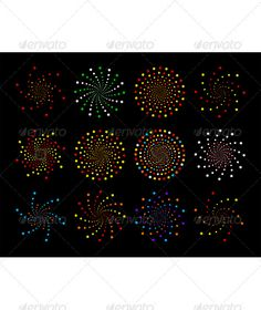 Set of abstract vector design elements like stars on a black background