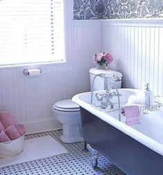 Woven-Look Bathroom Floor--LOVE THIS!! want this in the center of new master bath!