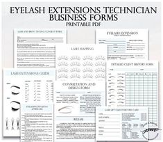 Pink Eyelash Extensions Technician Forms, Printable Client