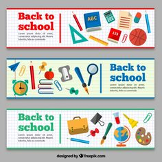 Free vector Back to school banners with school items Abc School, Back To School, School Items, School Design, Lorem Ipsum, Vector Free, Math, School Banners, Calendar