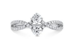 18K White Gold 2-Stone Diamond Ring - in White Gold - (0.88 CTW)