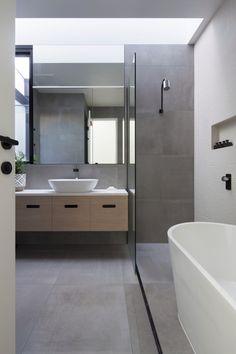 Adam Street Project by DX Architects - Burnley, VIC, Australia - Australian Architecture & Interior Design - Image 10 Bathroom Renos, Laundry In Bathroom, Grey Bathrooms, Family Bathroom, Contemporary Bathrooms, Modern Bathroom Design, Bathroom Interior Design, Bathroom Inspiration, Bathroom Inspo