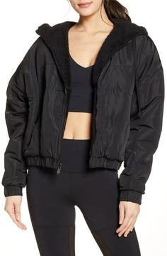 Head to the gym and beyond in this reversible hooded jacket that's luxuriously soft, cozy and comfortable in plush faux-shearling fleece. Style Name: Alo Duality Reversible Faux Shearling Jacket. Style Number: Available in stores. Hooded Jacket, Bomber Jacket, Faux Shearling Jacket, Yoga Fashion, Nordstrom, Jackets, Clothes, Collection, Shopping